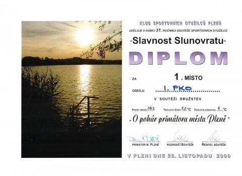 Diplom za soutěž O pohár primátora města Plzně (ke stažení jako PDF soubor)